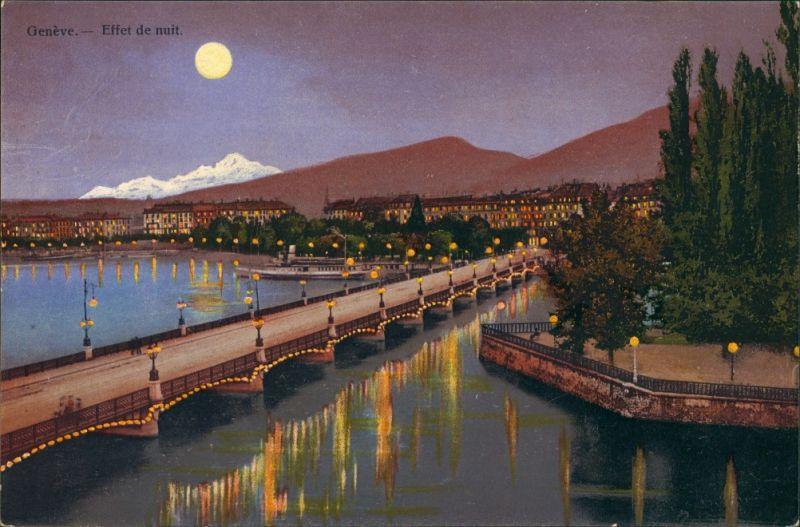 Genf Genève Effet de nuit/Panorama Blick mit See bei Mondschein 1920