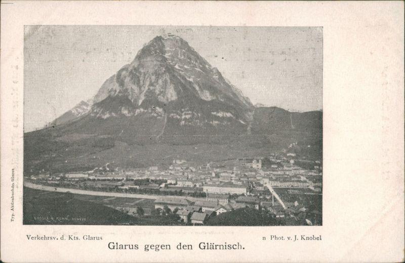 Glarus Glaris | Glarona | Glaruna | Claruna Panorama  gg. Berg Glärnisch 1900