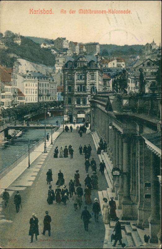 Karlsbad Karlovy Vary Mühlbrunnkolonnade - Geschäft, belebt 1911