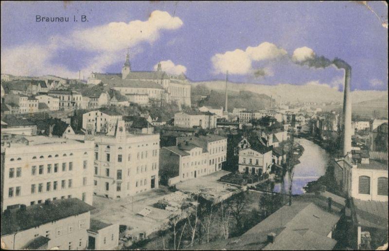 Postcard Braunau Broumov Stadtpartie, Fabrik 1919