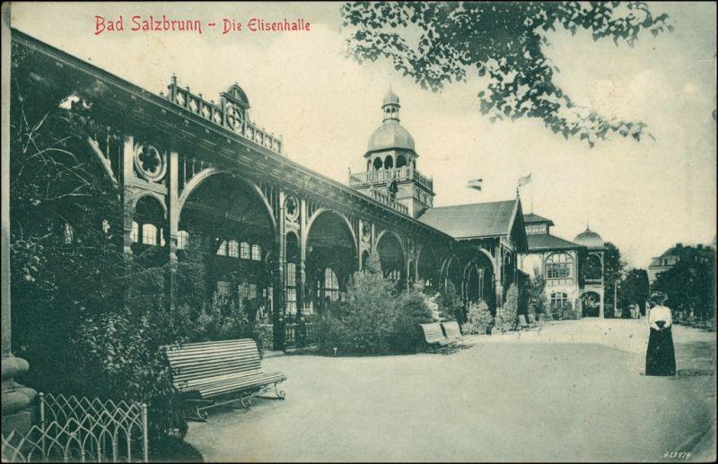 Bad Salzbrunn Szczawno-Zdrój Elisenhalle, Partie in den Anlagen 1906