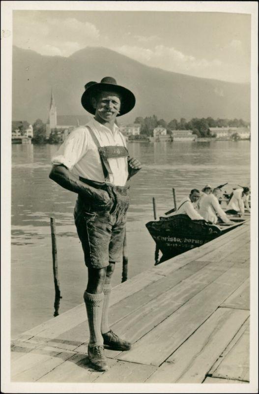 Ansichtskarte Egern am Tegernsee Man in Tracht, Schiff Christopherus 1940