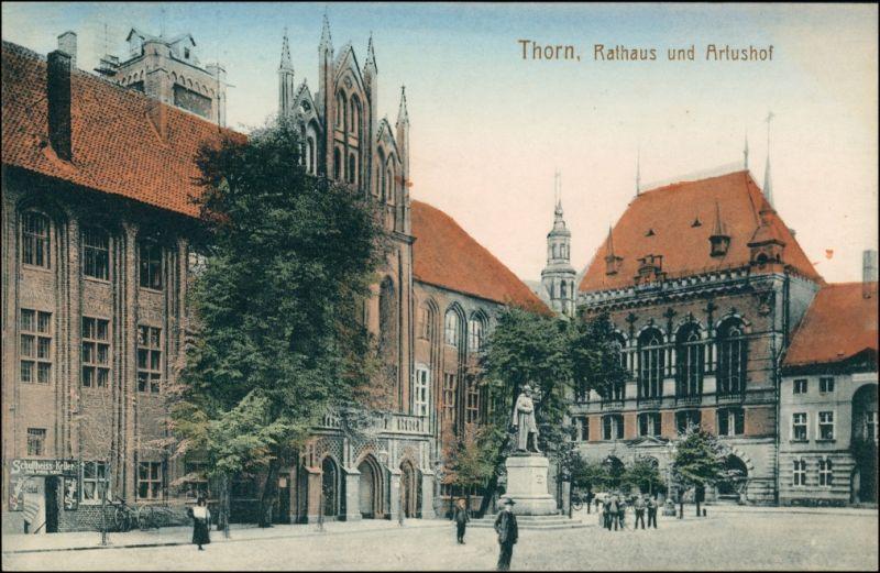 Postcard Thorn Toruń Rathaus, Artushof, Geschäft 1915