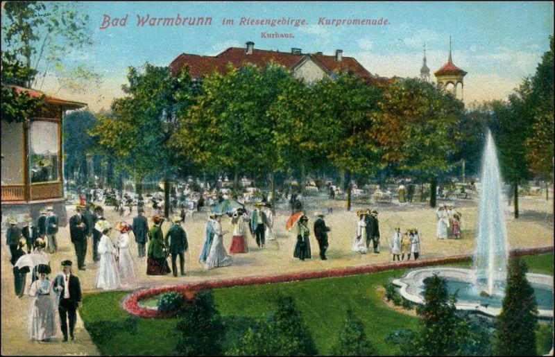 Bad Warmbrunn-Hirschberg (Schlesien)  j Jelenia Góra Kurpromenade, belebt 1913