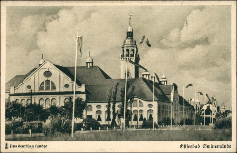 Postcard Swinemünde Świnoujście Kurhaus (gel. Bahnpost) 1937