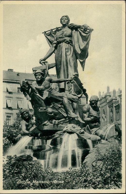 Postcard Stettin Szczecin Manzelbrunnen 1938