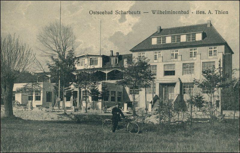Ansichtskarte Scharbeutz Gasthaus Wilhelminenbad - Fahrrad 1922