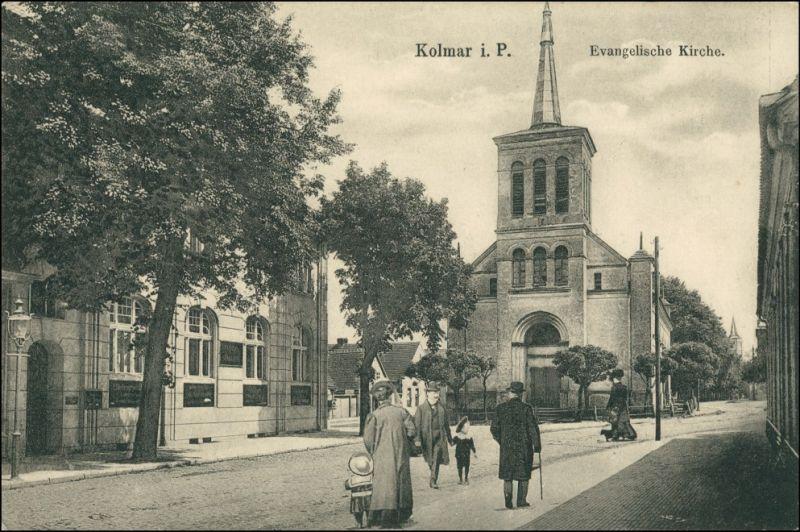 Kolmar in Posen (Chodziesen Colmar) Chodzież Straße evangelische Kirche 1922