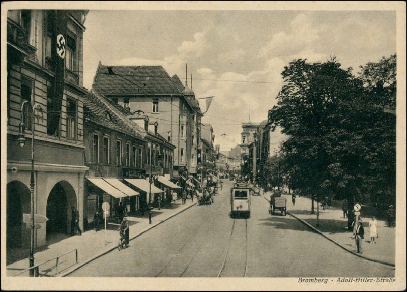 Postcard Bromberg Bydgoszcz Adolf-Hitler-Straße 1939