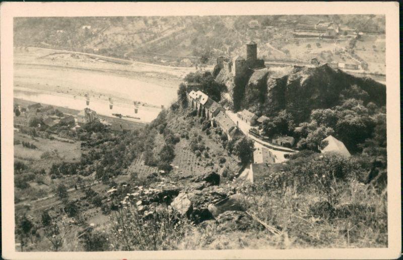 Postcard Aussig Ústí nad Labem (Ustji, Ustjiss) Burg Střekov 1950