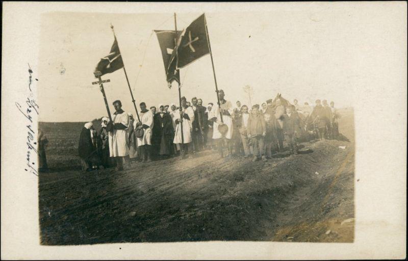 Ansichtskarte  Messe Gottesdienst auf dem Feld - gel. Feldpost 1916 Privatfoto
