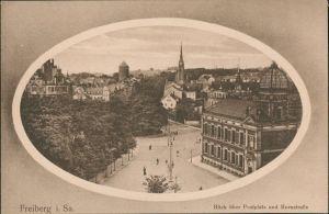 Ansichtskarte Freiberg (Sachsen) Passepartout: Postplatz Hornstraße 1912