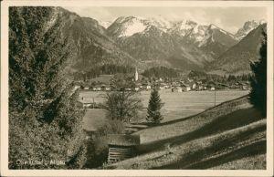 Oberstdorf (Allgäu) Allgäu Fernansicht Oberstdorf mit Bergen 1950