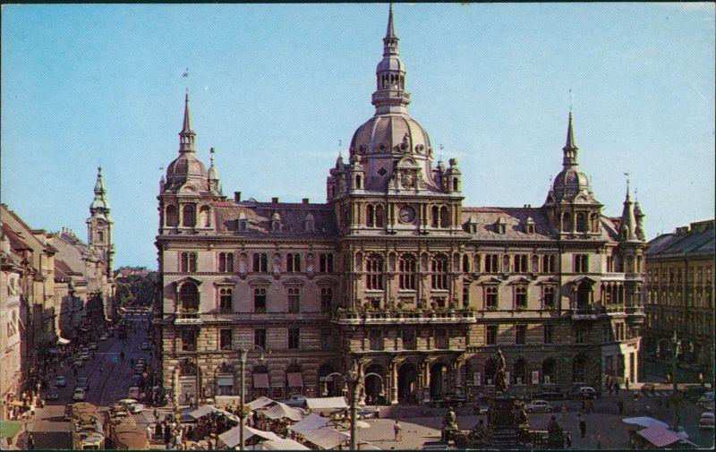 Ansichtskarte Graz Rathaus mit Hauptplatz 1960