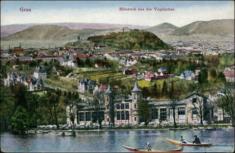 Ansichtskarte Graz Hilmteich aus der Vogelschau, Ruderboote auf See 1920