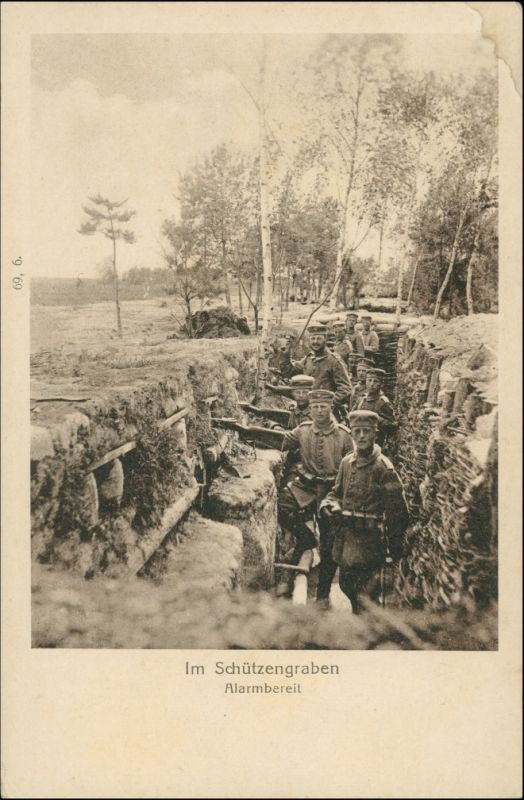 Militär/Propaganda 1.WK (Erster Weltkrieg) Im Schützengraben Soldaten 1915