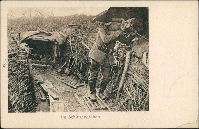 Ansichtskarte  Schützengraben Soldat mit Gewehr zielt WK1 1916