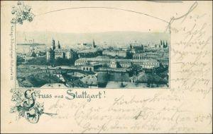 Ansichtskarte Litho AK Stuttgart Stadtblick, Ornament 1899