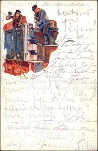 Ansichtskarte Essen (Ruhr) Künstlerkarte KRUPP Lokomotiv und Wagenbau 1928