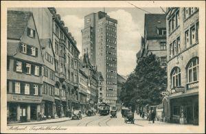 Ansichtskarte Stuttgart Tagblatt-Turmhaus, Geschäfte - Zigarren 1928
