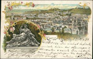 Litho AK Stuttgart 2 Bild: Stadt und Eberhardgruppe - Gruss aus 1895