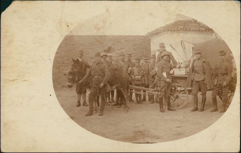 Soldaten Pferdegespann KuK 14/100 Feldkorpskommando 1915 Privatfoto