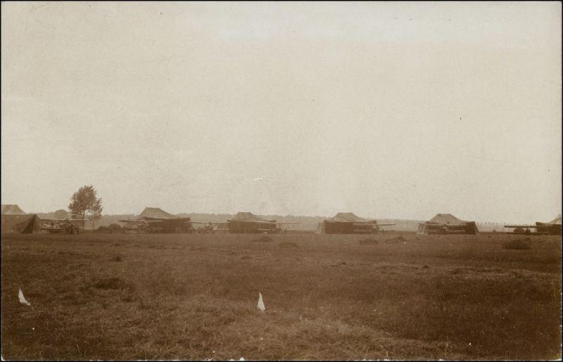 Doppeldecker vor Zelten Militär 1.WK (Erster Weltkrieg) 1915 Privatfoto