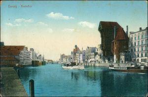 Postcard Danzig Gdańsk/Gduńsk Krantor/Krahntor, Speicher - Dampfer 1914