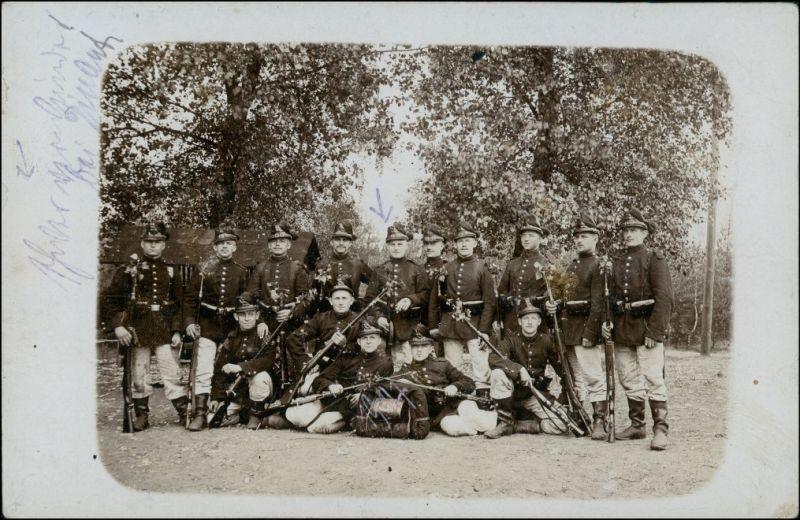 Jäger - Soldaten Blumen im Gewehrlauf WK1 Militaria 1916 Privatfoto