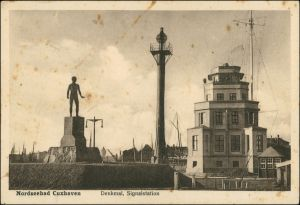 Ansichtskarte Cuxhaven Denkmal, Signalstation 1926