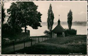 Ansichtskarte Engers Rhein-Neuwied (Rhein) Kapelle und Rhein 1923