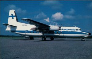 Ansichtskarte  Propellerflugzeug FINNAIR Fokker F-27-200 1990