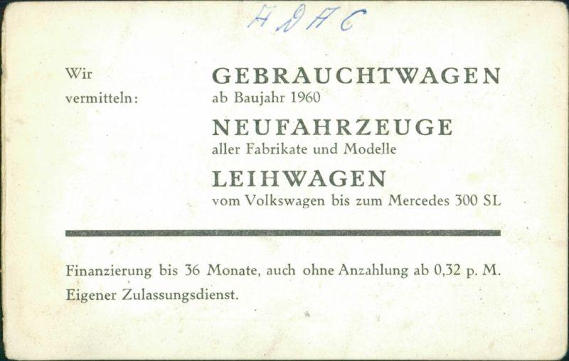 Ansichtskarte  Krissel Automobile Verkaufsstelle VW Mercedes Benz 1962 1
