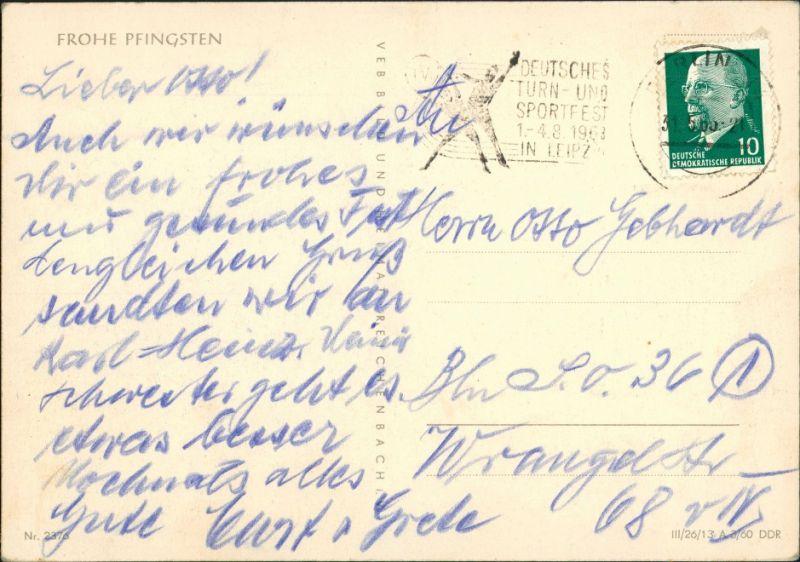 Ansichtskarte  Glückwunsch: Pfingsten, Künstlerkarte S. Hauffe 1960 1