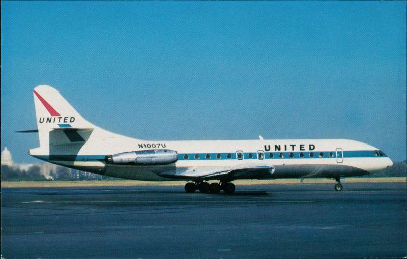 Ansichtskarte  Flugzeug UNITED AIRLINES Sud Aviation Caravelle 6R 1972/1990 0