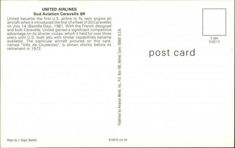 Ansichtskarte  Flugzeug UNITED AIRLINES Sud Aviation Caravelle 6R 1972/1990 1