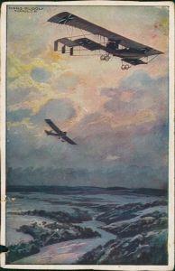 Ansichtskarte  Militär/Propaganda 1.WK (Erster Weltkrieg) Doppeldecker 1917