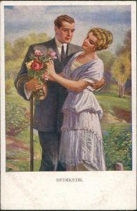 Ansichtskarte  Künstlerkarte Kunstwerke Munk Wien Heimkehr 1914