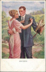 Ansichtskarte  Künstlerkarte Munk Wien: Mann Frau Abschied 1914