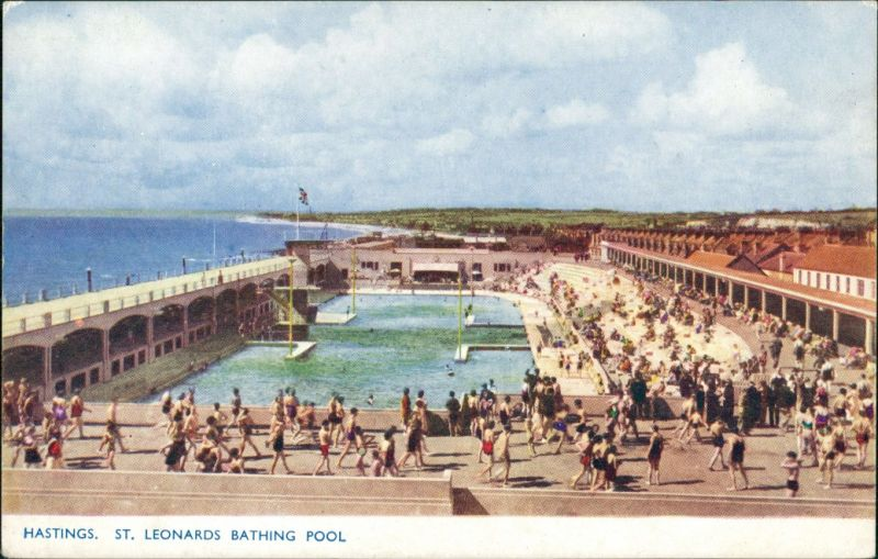Hastings St. Leonards Bathing Pool, Schwimmbad, Freibad a.d. See 1960
