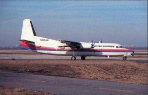 Ansichtskarte  Propellerflugzeug UNITED EXPRESS Fokker F27-500 1990