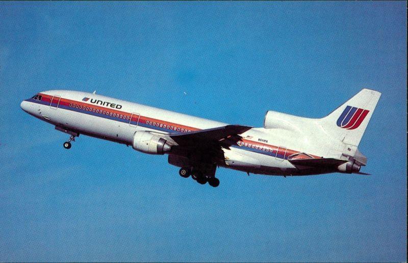 Ansichtskarte  Flugzeug UNITED AIRLINES Lockheed L1011-500 1986