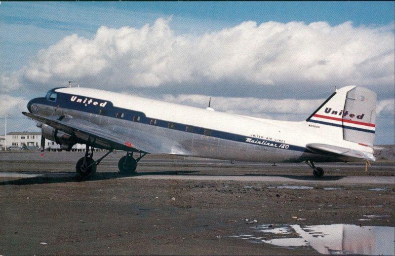 Ansichtskarte  Propellerflugzeug UNITED AIR LINES Douglas DC-3 1986