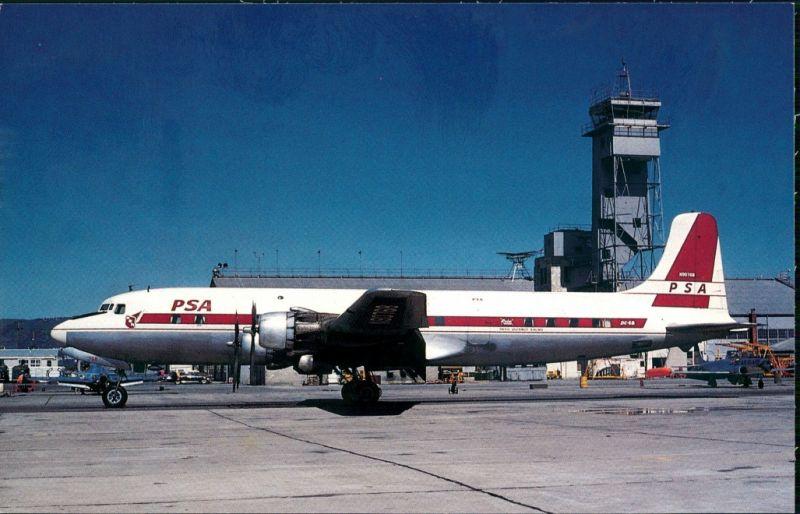 Propellerflugzeug PACIFIC SOUTHWEST AIRLINES Douglas DC-6B 1961/1986