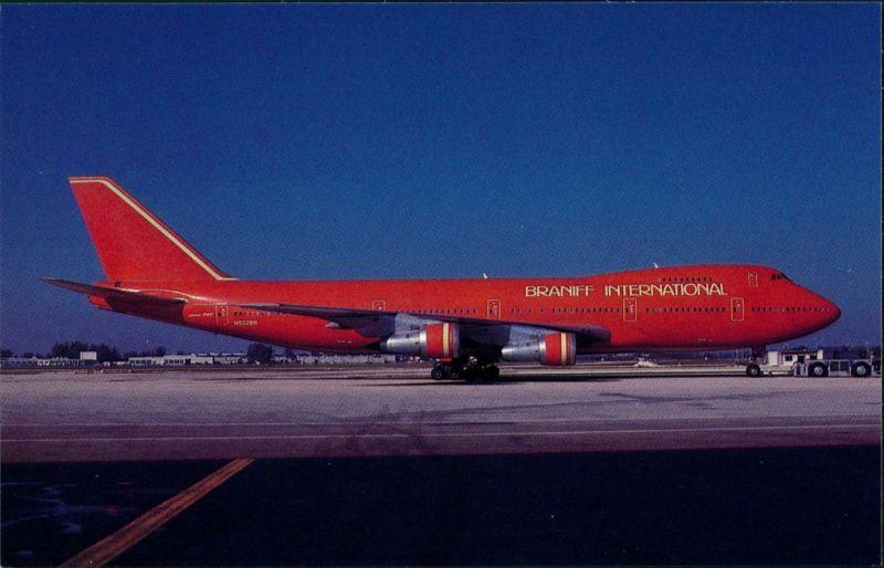Postcard Miami Flugzeug BRANIFF INTERNATIONAL Boeing 747-227B 1980
