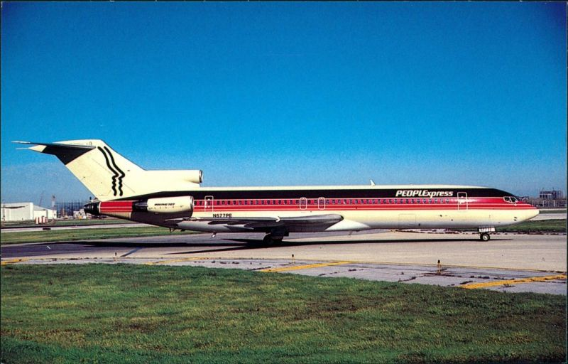 Chicago   Flugzeug PEOPLEXPRESS AIRLINES Boeing 727-243 at O'Hare 1985