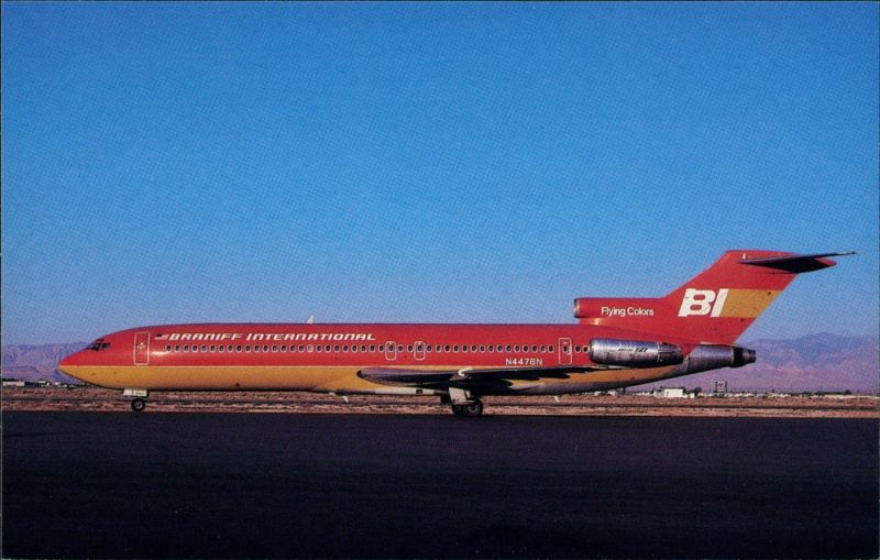 Ansichtskarte  Flugzeug BRANIFF INTERNATIONAL Boeing 727-227 auf Rollfeld 1985