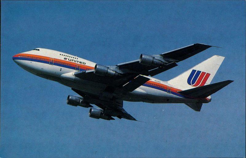Ansichtskarte  Flugzeug UNITED AIRLINES Boeing 747SP-21 1990