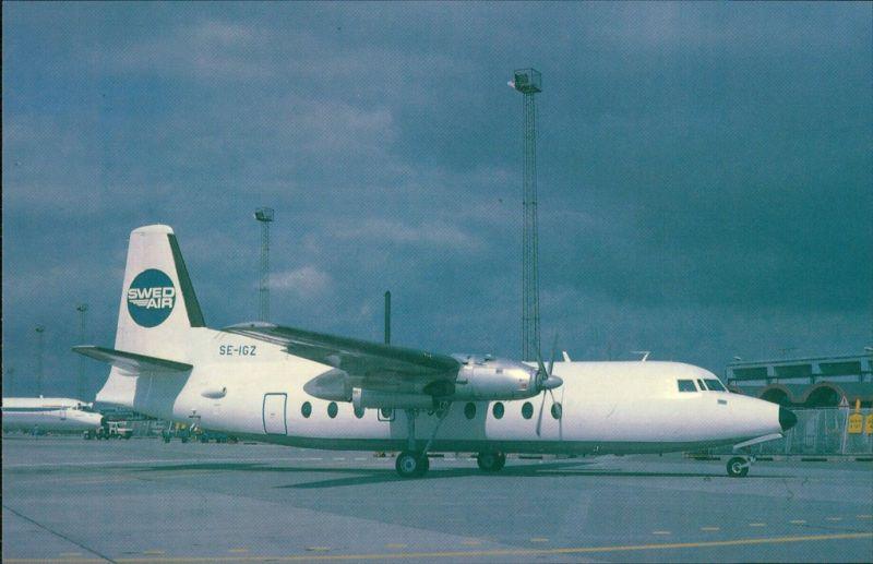 Propellerflugzeug F 27 Friendship - Fokkers Turboprop Swed Air  (SE-IGZ) 1990
