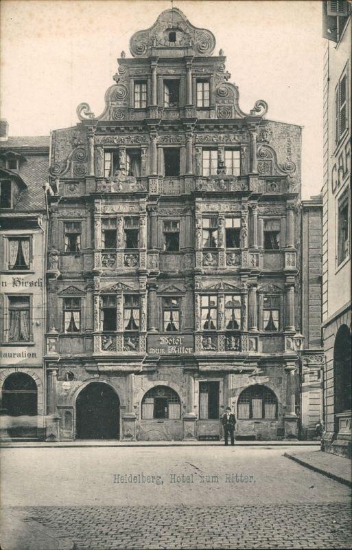 Ansichtskarte Heidelberg Gasthaus zum Ritter 1912